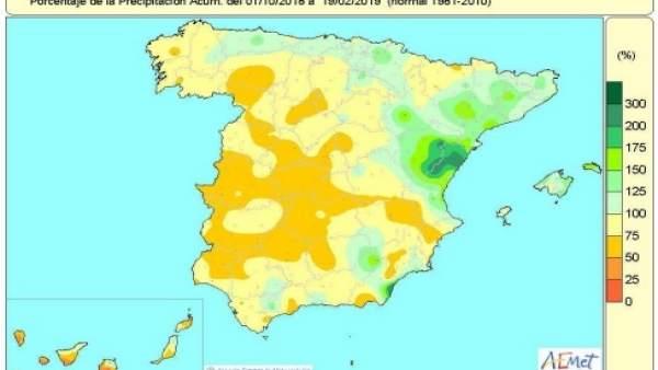 Balance hídrico. Precipitaciones acumuladas en España