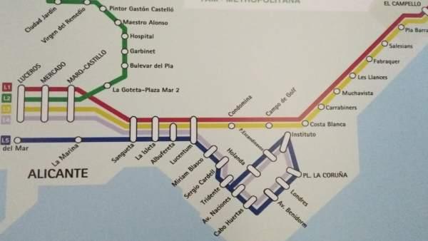 Nuevo plano del TRAM d'Alacant, con la nueva línea 5 en azul oscuro bordeando el