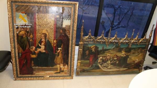 Algunas de las obras de arte robadas y recuperadas en la operación 'Falsum'