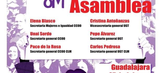 Cartel de la Asamblea de CCOO y UGT
