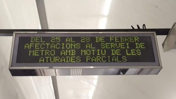 MWC.- La huelga del Metro de Barcelona registra un seguimiento del % a primera h