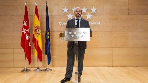 El vicepresidente de la Comunidad de Madrid, Pedro Rollán, este martes.