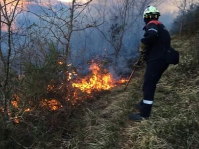 Bomberos trabajan en la extinción de incendios forestales en Goizueta, Irurita y