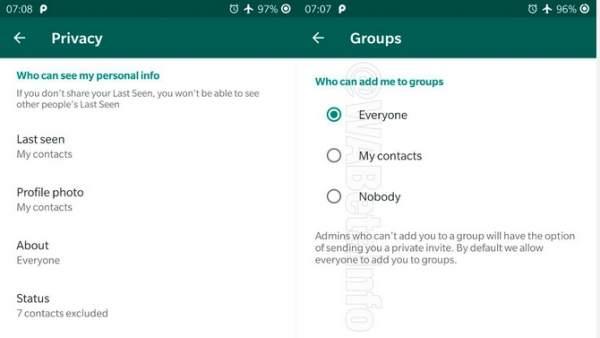 Opciones para rechazar entrar en grupos