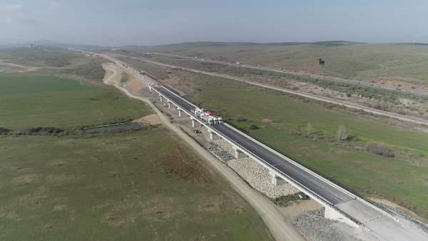 Prueba de carga del viaducto en arroyo de Valdelinares