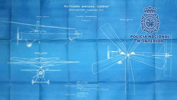 Policía Nacional recupera la documentación del autogiro de Juan de la Cierva y C