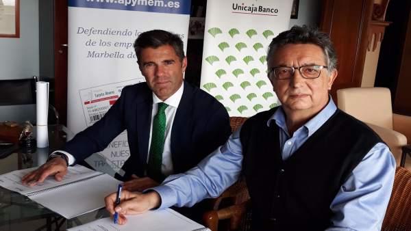 Unicaja Banco renueva a su apoyo a los empresarios y pymes de Apymen de Marbella