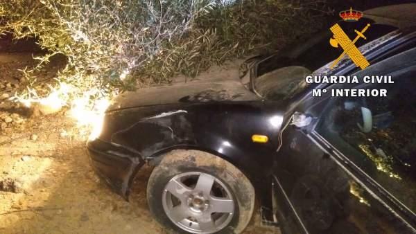 El vehículo tras impactar contra unos olivos