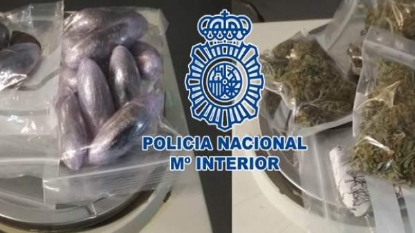 La Policía detiene a una persona y le interviene hachís, marihuana y cocaína que
