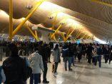 Colas en Barajas en la Terminal 4