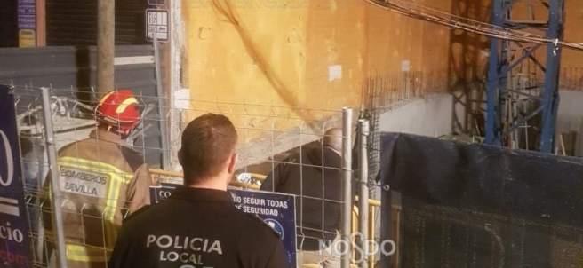 Derrumbe de un muro en Sevilla