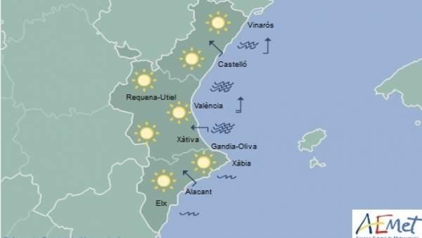 El sol y unas temperaturas sobre los 20 grados en toda la Comunitat Valenciana