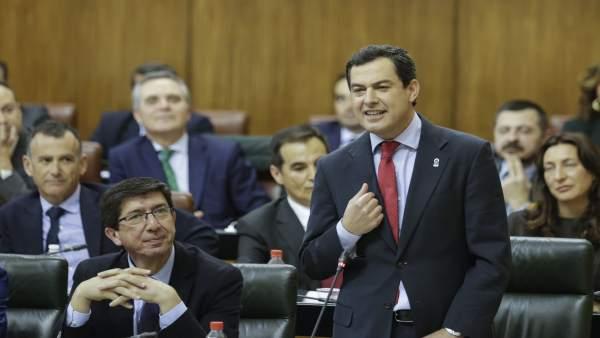 Sesión de control en la segunda jornada del Pleno del Parlamento andaluz