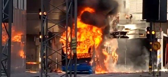 Explosión de un autobús en Estocolmo