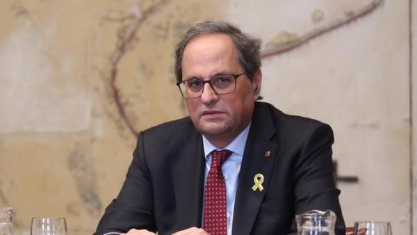 El 'president' de la Generalitat, Quim Torra, comparece junto al vicepresidente de la Generalitat