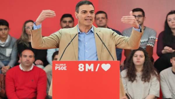 AMP.- Sánchez reivindica la España del 8M, 'el hoy y el mañana del país', frente