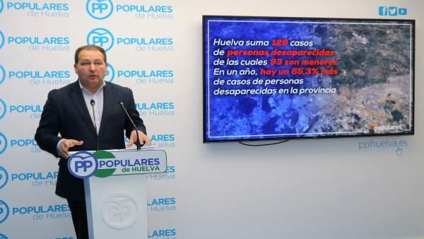 Huelva.- El PP advierte de un incremento del 65,3% de casos de desaparecidos en