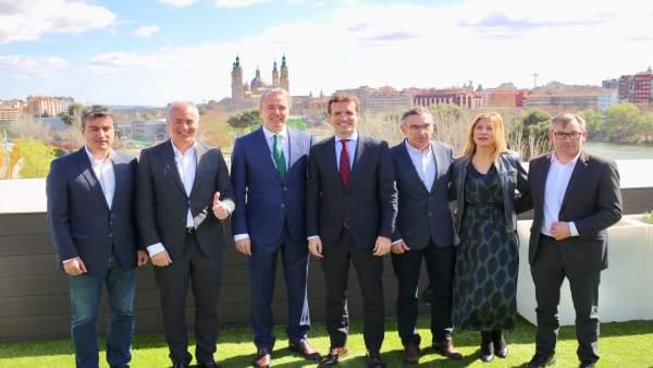 Pablo Casado interviene en un acto con afilidados del PP en Zaragoza