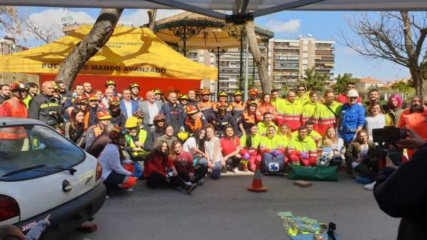 Jaén.- El parque de la Concordia acoge el simulacro de un accidente múltiple de