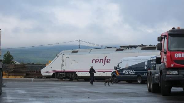 Un agente de policía con uno de los perros que rastrearon los vagones