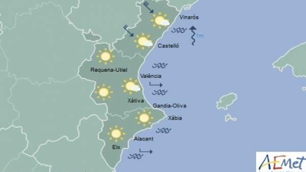 Cielo despejado y máximas de 21º este jueves en la Comunitat Valenciana