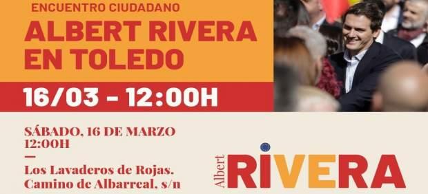 Albert Rivera asistirá este sábado a un encuentro ciudadano en Toledo