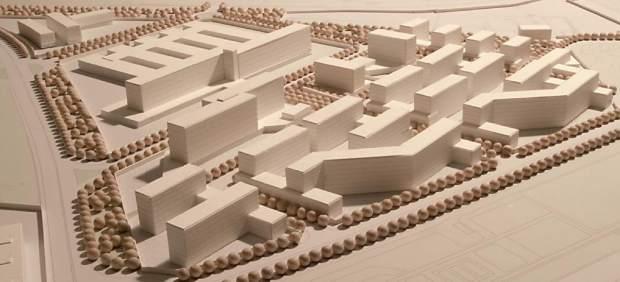 Maqueta del plan parcial para construir pisos y un hospital en la antigua prisión.