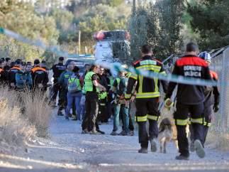Operativo trabajando en la búsqueda de los dos niños desaparecidos en Godella.