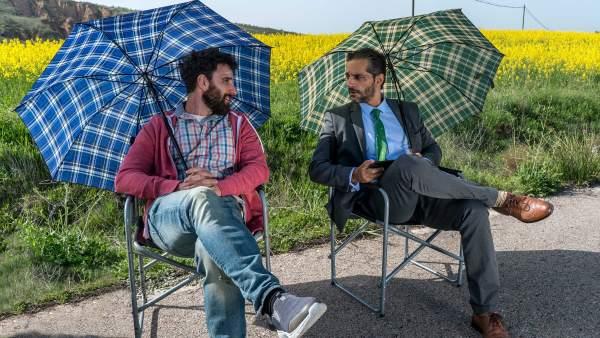 Dani Rovira, Joaquín Furriel e Ingrid García-Jonsson en 'Taxi a Gibraltar'