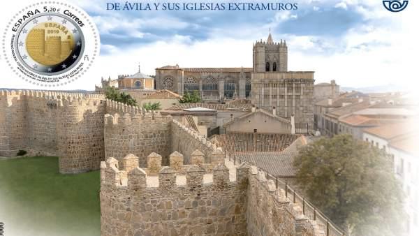 Correos edita un sello dedicado a Ávila con la imagen que ilustra la moneda pues