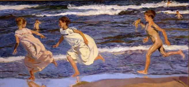Joaquín Sorolla, Corriendo por la playa (Running along the Beach, Valencia, 1908)