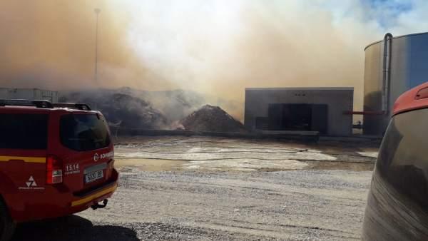 Zaragoza.- Sucesos.- Controlado el incendio de la fábrica de 'pellets' de Erla