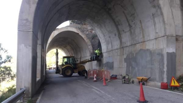 El falso túnel de Estellencs estará cerrado de jueves a sábado