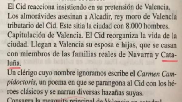 Fragmento polémico del libro 'Cantar de Mío Cid'.