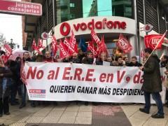 Movilización de los trabajadores de Vodafone en protesta contra el ERE el pasado febrero
