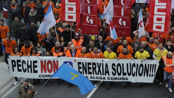 Imagen de la manifestación de Alcoa en A Coruña.