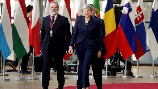 Theresa May, a su llegada al Consejo Europeo.
