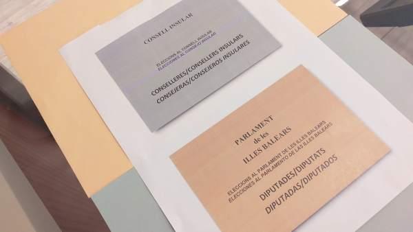 Las papeletas de las elecciones autonómicas en Baleares