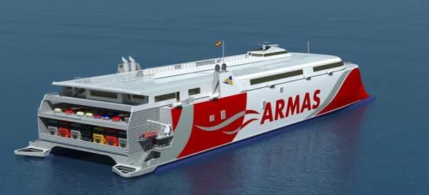 Naviera Armas bautiza su nuevo catamarán con el nombre de 'Volcán de Tagoro'