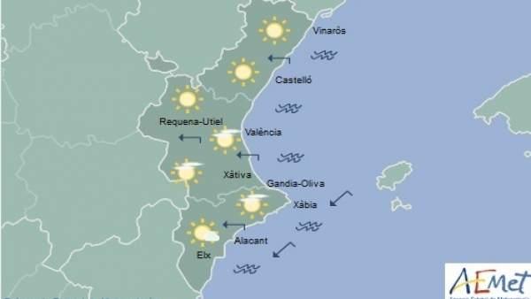 Domingo soleado con temperaturas que rondarán los 20 grados en toda la Comunitat