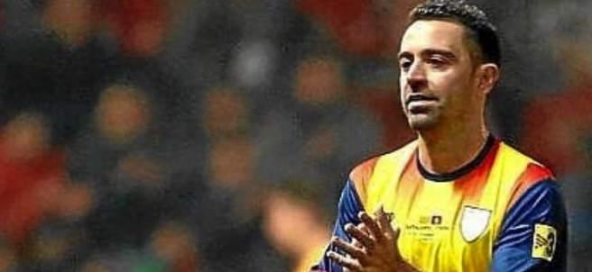 Xavi Hernández, con la selección catalana