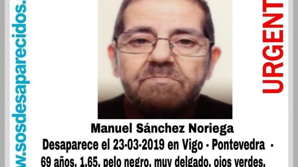 Denuncian la desaparición en Vigo de un hombre de 69 años, que falta de su domic