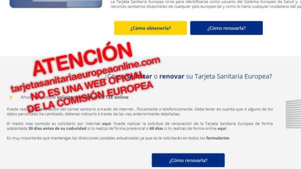 Imagen creada por Facua para alertar de la página web falsa de la Comisión Europea.
