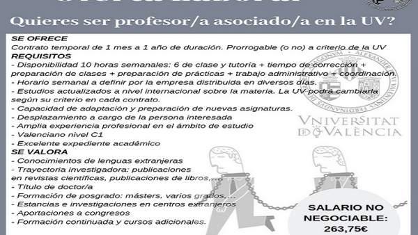 Profesores asociados de la UV lanzan una campaña en redes con anuncios simulados