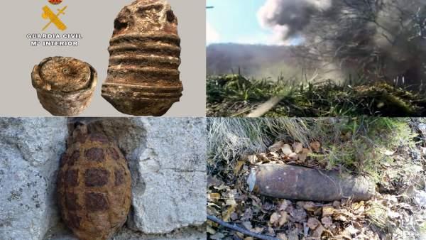 La Guardia Civil destruye tres granadas de mano y un proyectil de artillería de