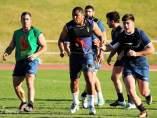 Thierry Feuteu, con la selección española de rugby