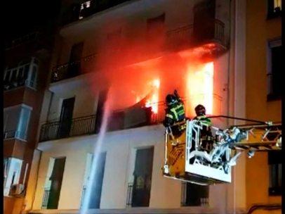 Incendio en un edificio de Arganzuela