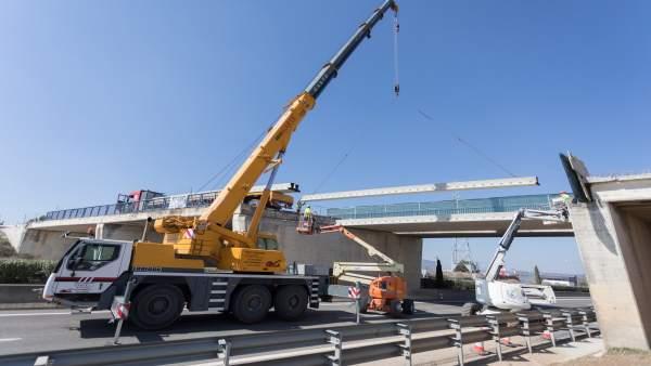 El puente de la carretera Tudela-Tarazona podría ponerse en servicio la semana d