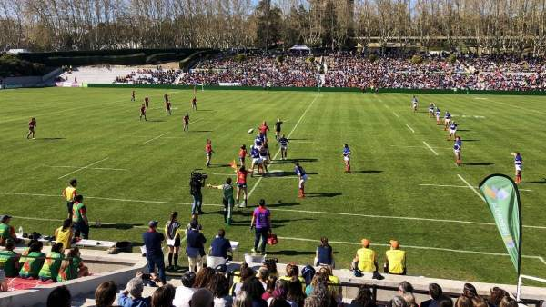 El Estadio Central de Madrid, durante un partido de rugby femenino entre las sel