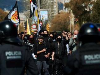 Manifestantes de grupos independentistas